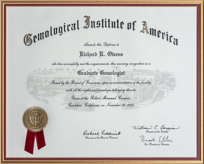 Gemologist Certificate